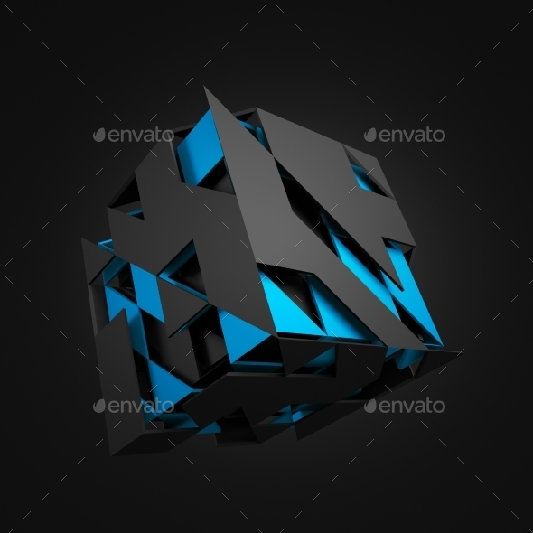 Abstract 3D Rendering Of Flying Cube. - 3D Backgrounds