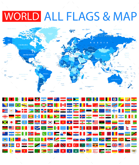 All flags and world map by dikobrazik graphicriver all flags and world map travel conceptual gumiabroncs Image collections