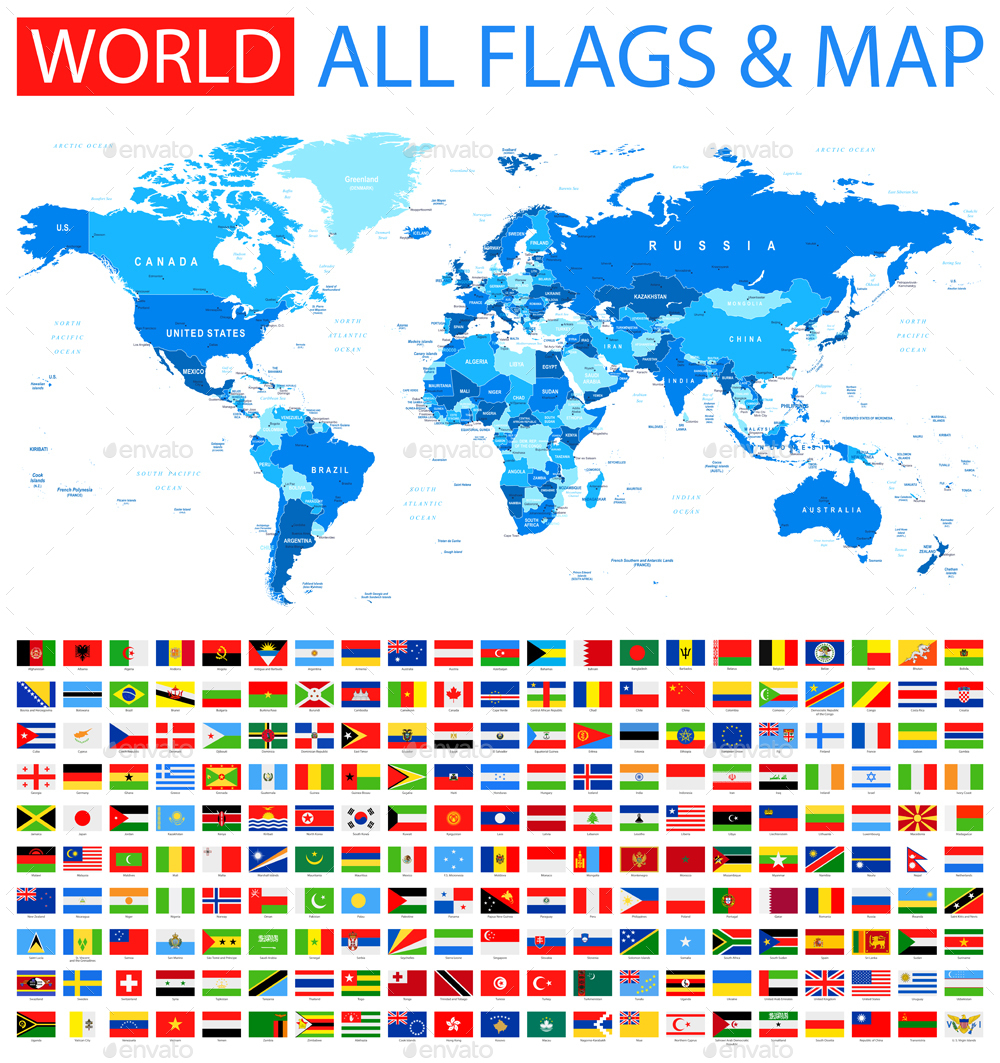 All flags and world map by dikobrazik graphicriver 0371 flags and world map blue 10001063g gumiabroncs Image collections