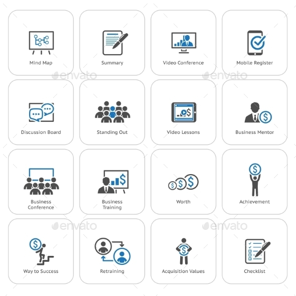 Business Coaching Icon Set. Online Learning. - Business Icons