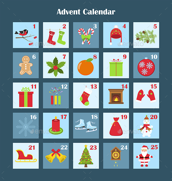 Christmas Calendar Pictures : Christmas advent calendar by rodionova graphicriver