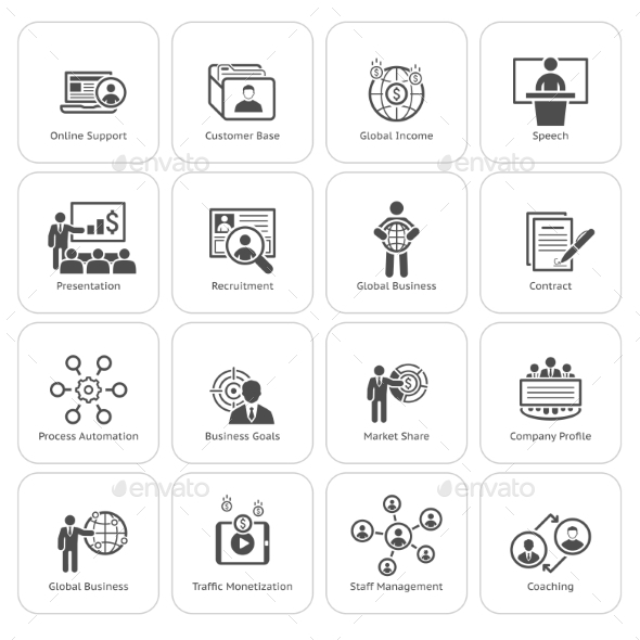 Business And Finances Icons Set. Flat Design. - Business Icons