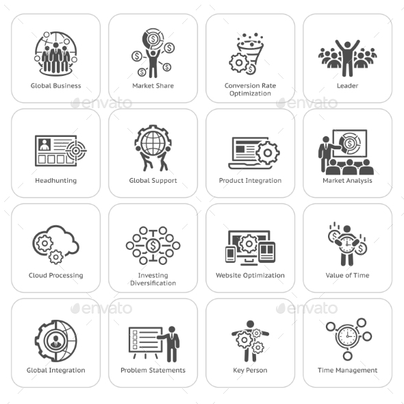 Flat Design Business Icons Set. - Business Icons