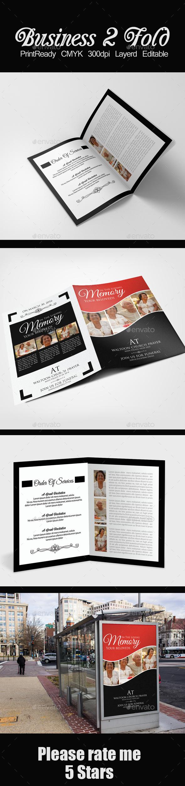 Memory Funeral Program Bifold Template - Corporate Brochures
