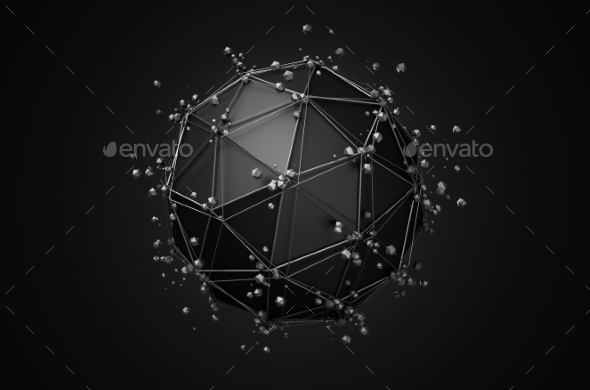Low Poly Black Sphere With Chaotic Structure. - Abstract Backgrounds
