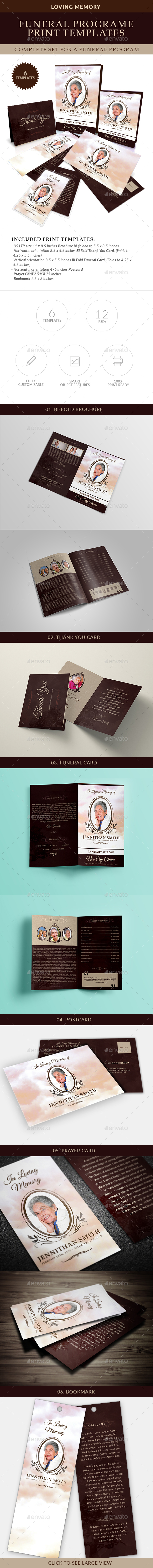 Loving Memory Funeral Print Templates Combo Set - Miscellaneous Print Templates