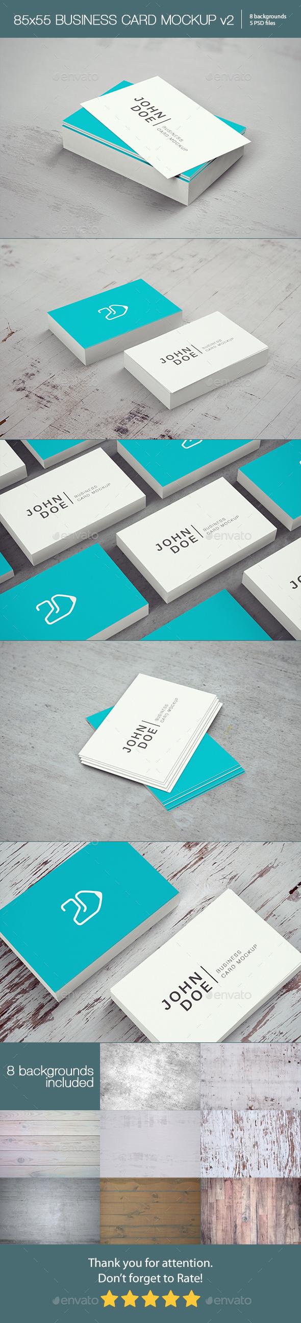 85x55 Business Card Mockup v2 - Business Cards Print