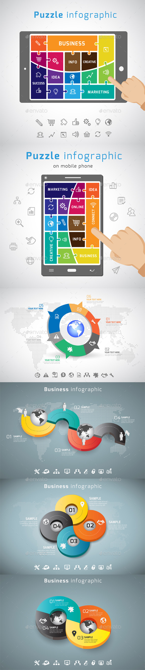 6 IN 1 Infographic templates Bundle