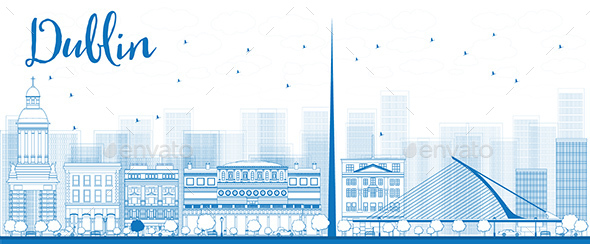 Outline Dublin Skyline with Blue Buildings - Buildings Objects