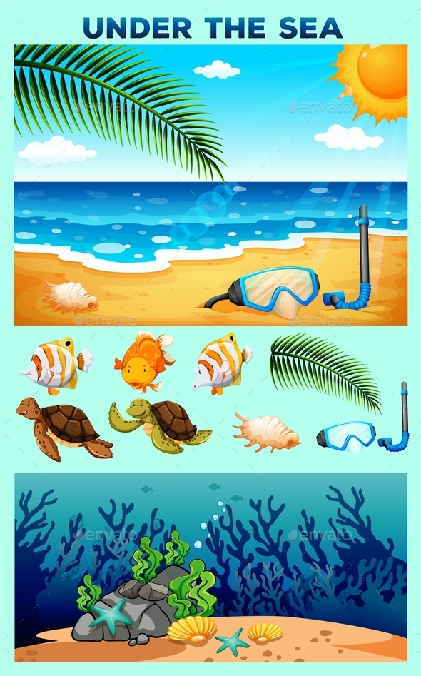 Ocean Theme with Beach and Underwater - Miscellaneous Conceptual