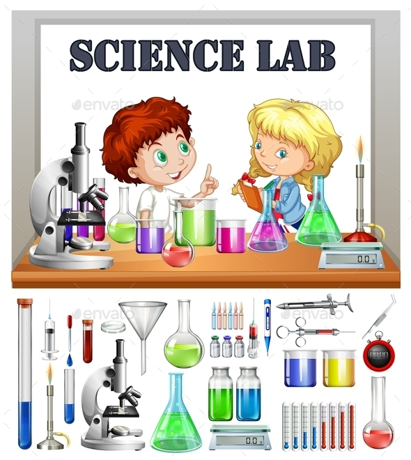 Children Working in the Science Lab - People Characters