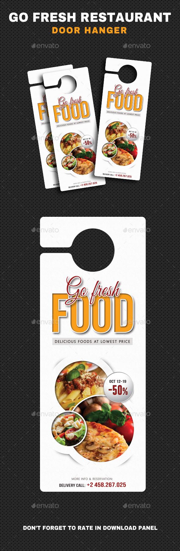 Go Fresh Restaurant Door Hanger