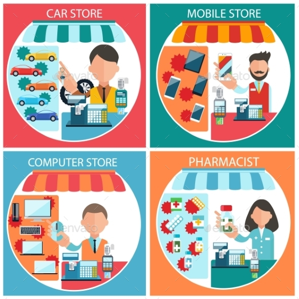 Car, Mobile, Pharmacist And Computer Store  - Concepts Business