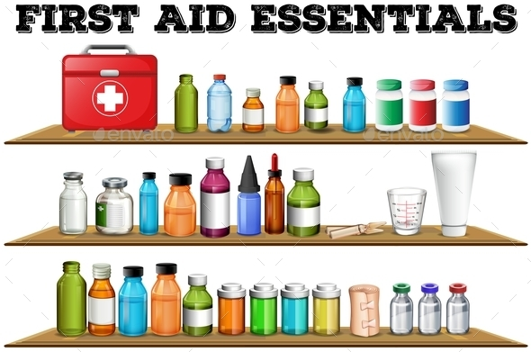 First Aid Essentials on the Shelf - Miscellaneous Conceptual