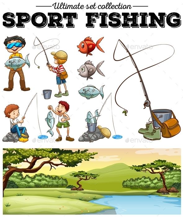 People Fishing and River Scene - People Characters