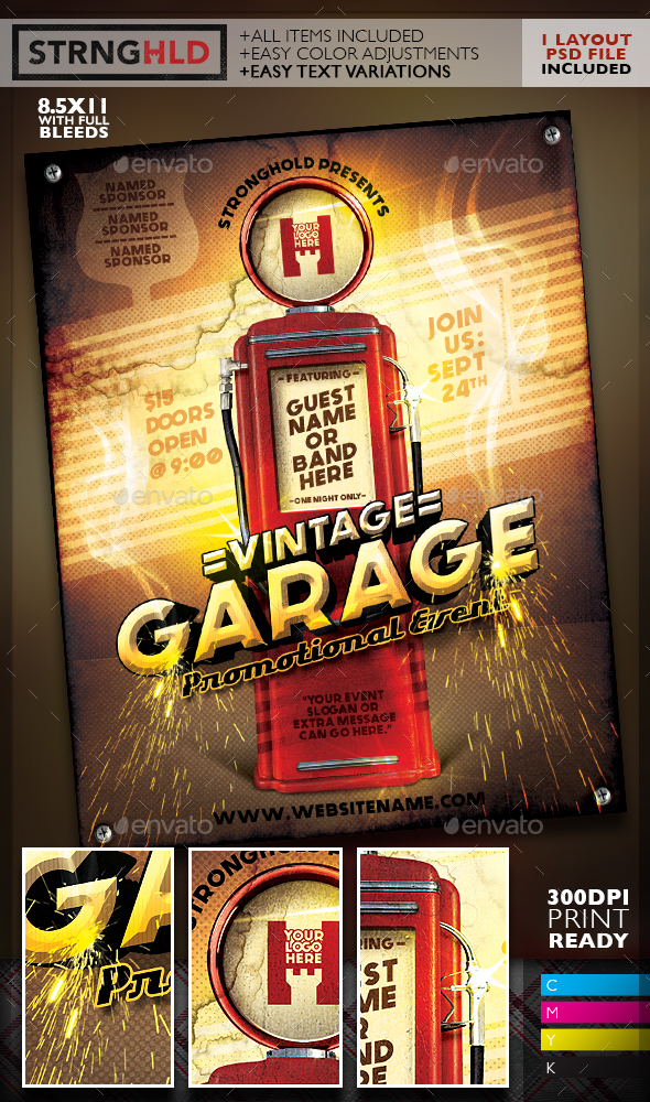 Vintage Gas Pump Event Flyer Template - Miscellaneous Events