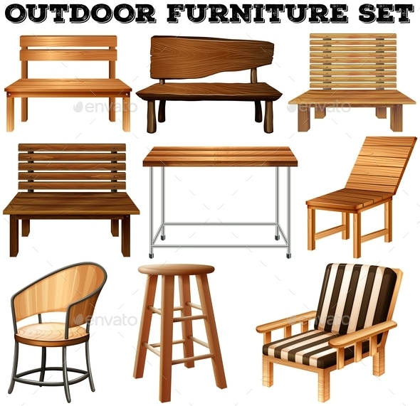 Outdoor Wooden Furniture Set - Objects Vectors