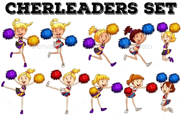 Cheerleaders with Pompom Jumping up and Down - People Characters