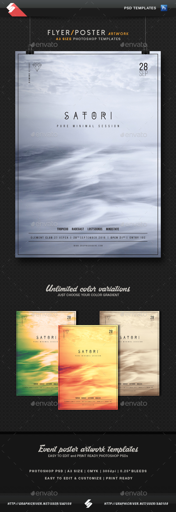 Satori - Minimal Party Flyer Template A3 - Clubs & Parties Events