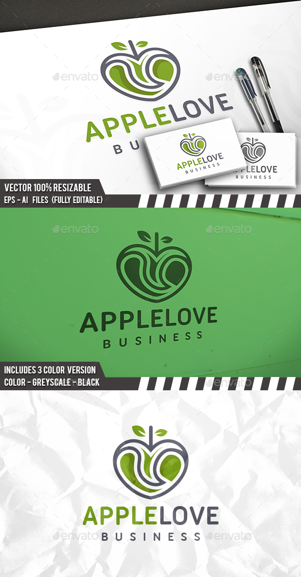 Apple Love Logo - Nature Logo Templates