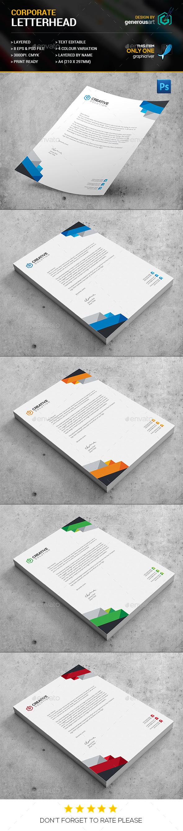 Clean Corporate Letterhead - Stationery Print Templates