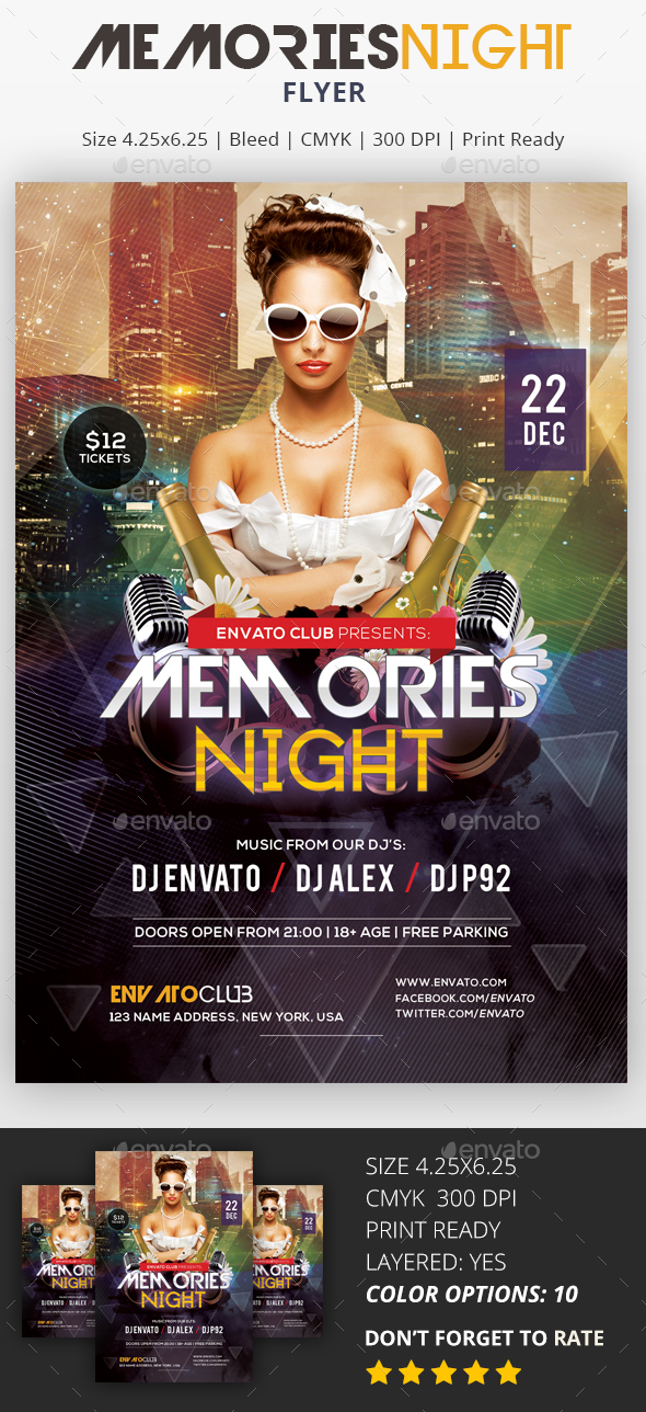 Memories Night - PSD Flyer - Clubs & Parties Events
