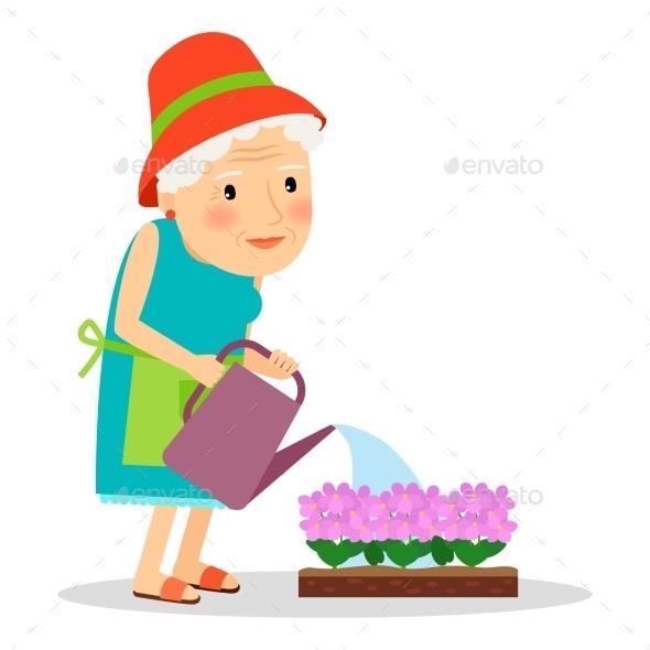 Old Woman Watering Flowers - People Characters