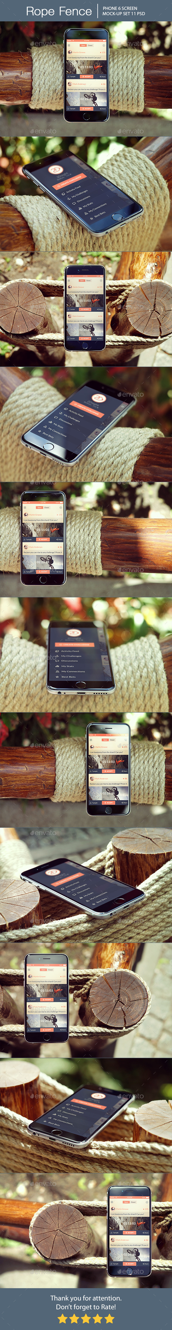 Rope Fence iPhone 6 Mockup - Mobile Displays