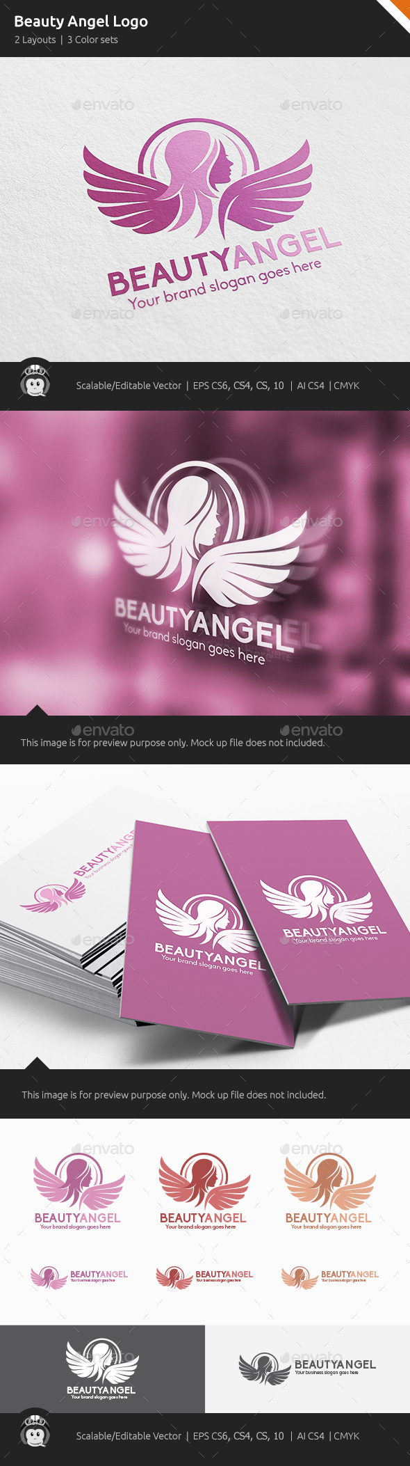Beauty Angel Woman Wings Logo - Humans Logo Templates