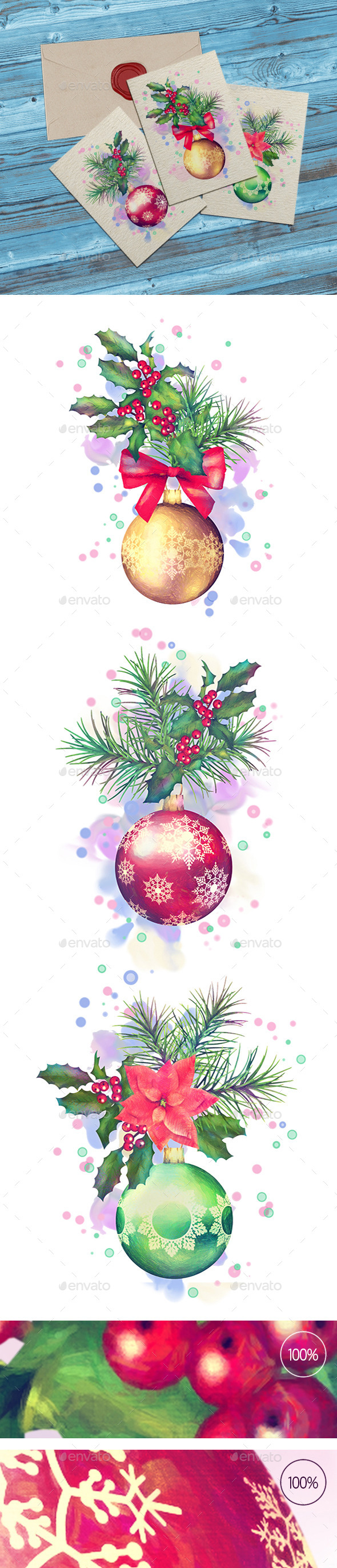 Watercolor Painting Christmas Ornaments - Objects Illustrations