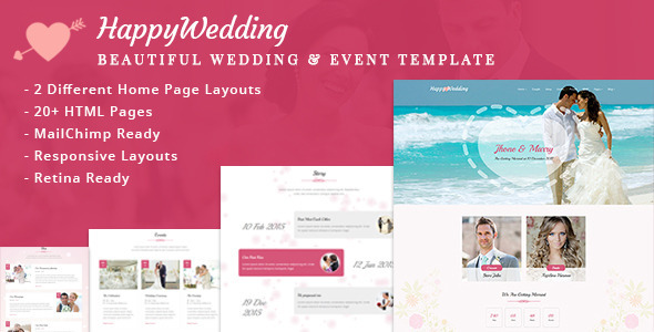 HappyWedding – Beautiful Wedding & Event Template