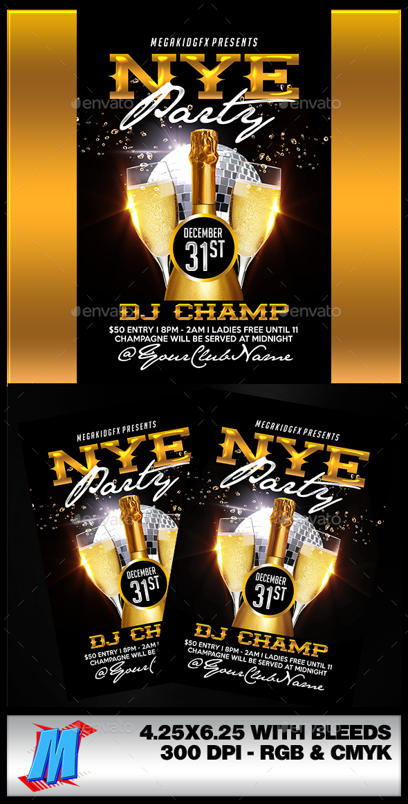 NYE Party Flyer Template - Clubs & Parties Events