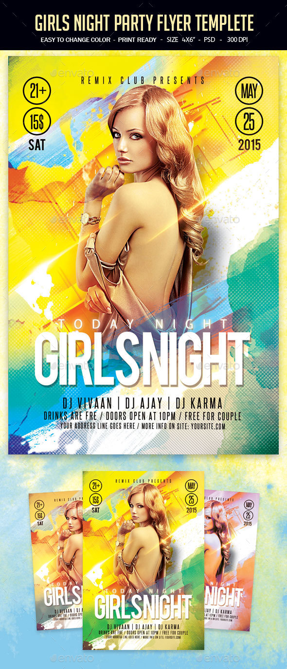 Girls Night Party Flyer Templete - Clubs & Parties Events