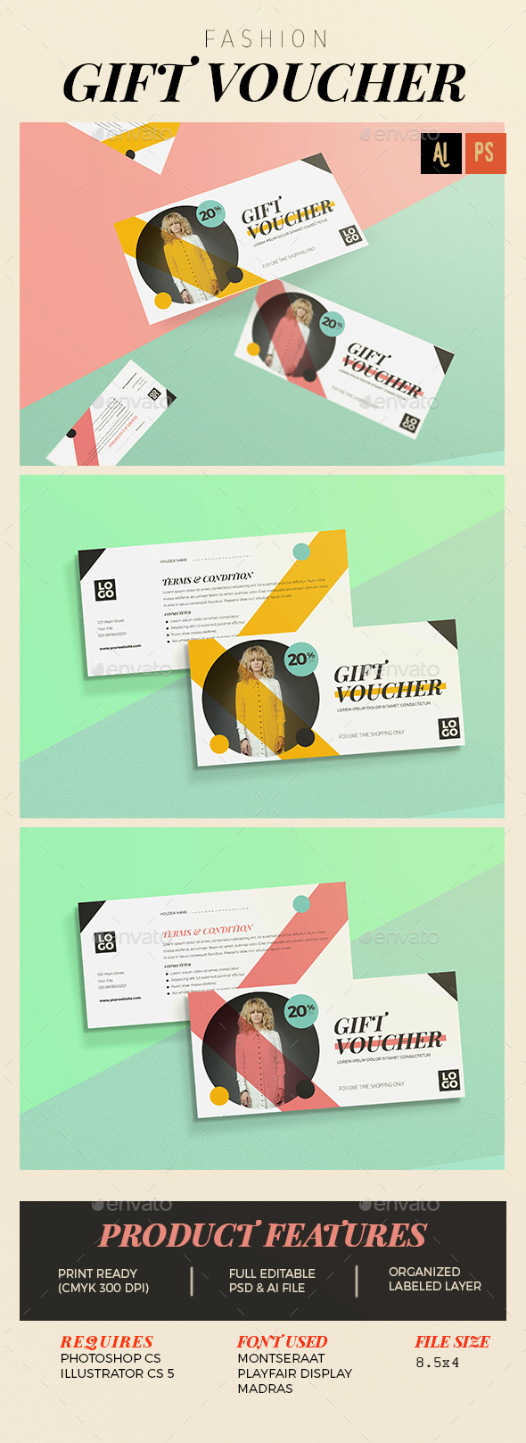 Fashion gift voucher - Cards & Invites Print Templates