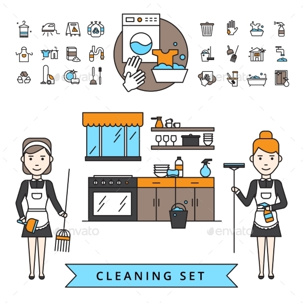 Cleaning Design Concept - Decorative Symbols Decorative
