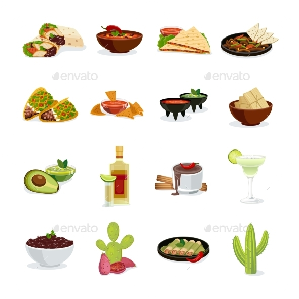 Mexican Food Flat Icons Set  - Food Objects