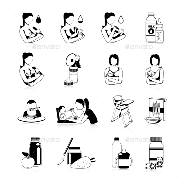 Baby Feeding Black Icons Set - Food Objects