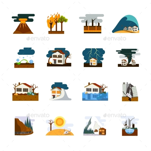 Natural Disaster Flat Icons Set - Seasonal Icons