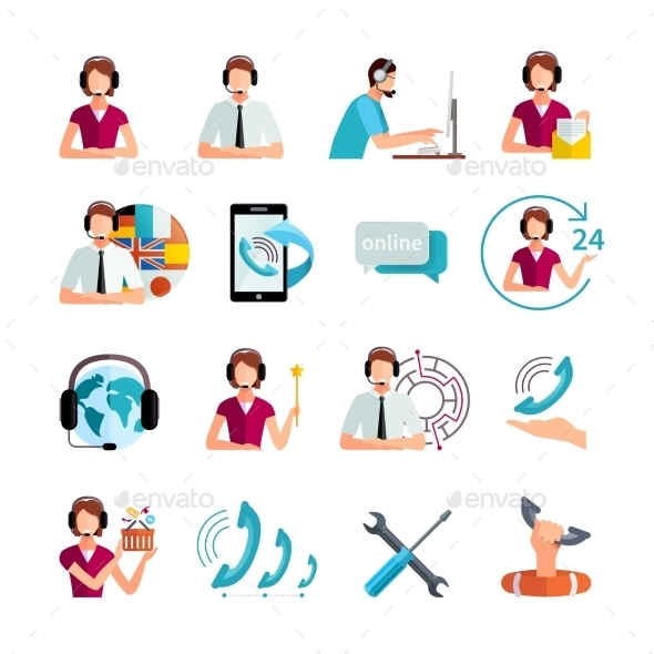 Customer Support Service Flat Icons Set - Business Icons