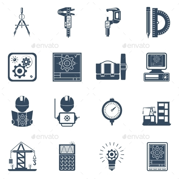 Engineer Black Icons Set - Man-made objects Objects