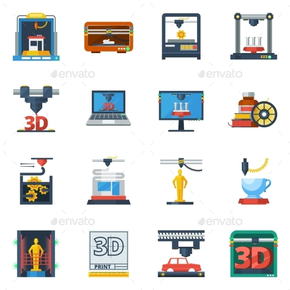 3D Printing Flat Icons Collection  - Technology Icons