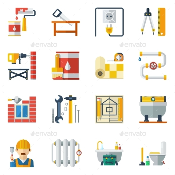 Home Repair Flat Icons Collection - Buildings Objects
