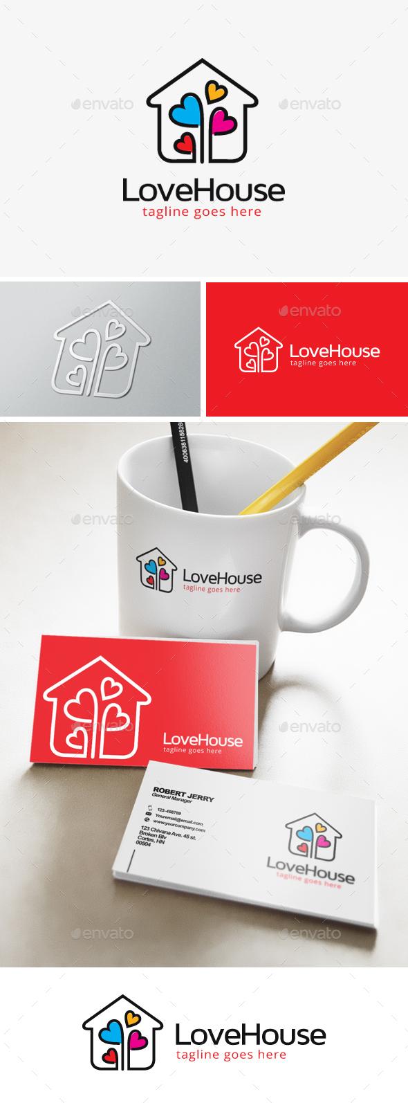 Love Residence Logo - Buildings Logo Templates