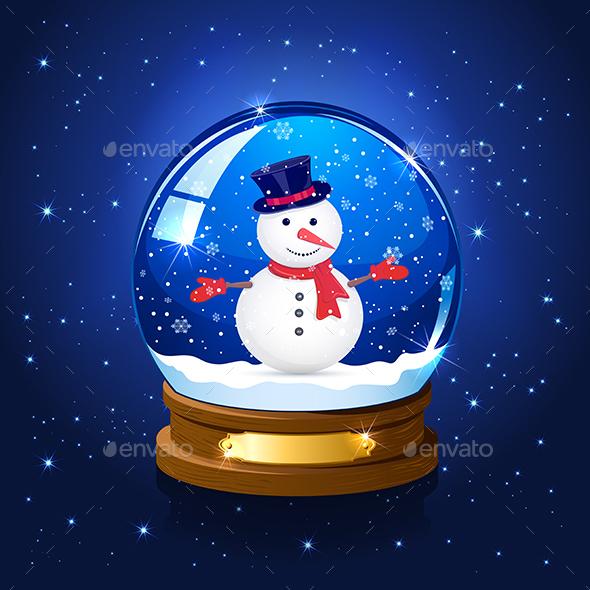 Christmas Snow Globe and Snowman - Christmas Seasons/Holidays