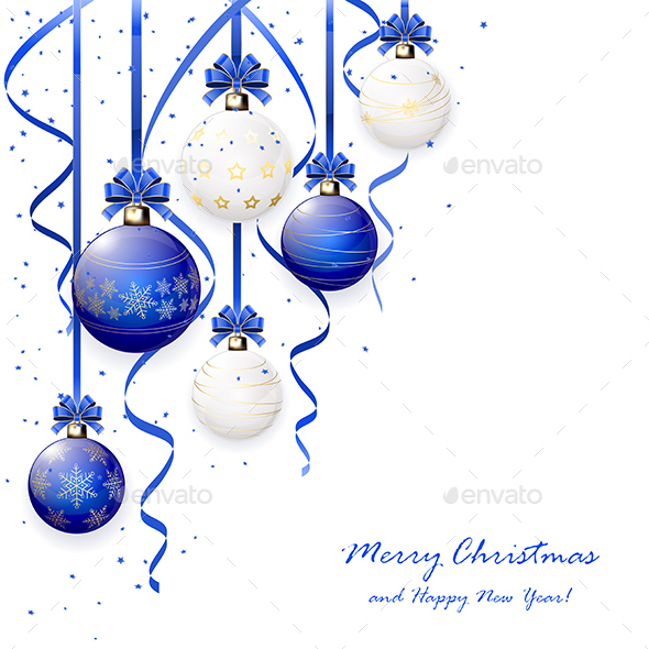 Blue and White Christmas Balls - Christmas Seasons/Holidays