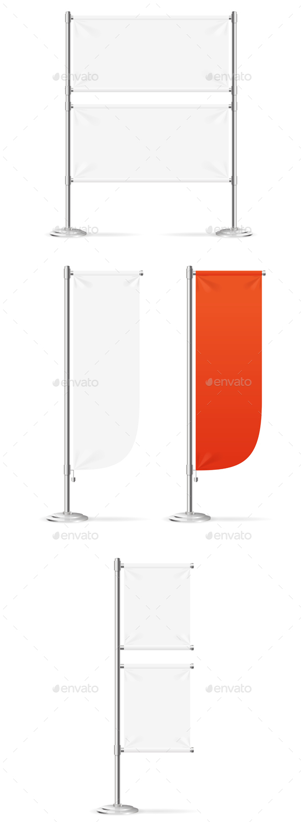 Blank Banner Flag Red and White Set - Communications Technology