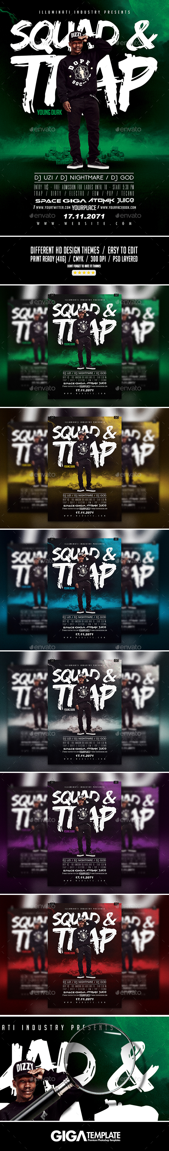 Squad & Trap | Modern Artist Flyers PSD Template - Events Flyers