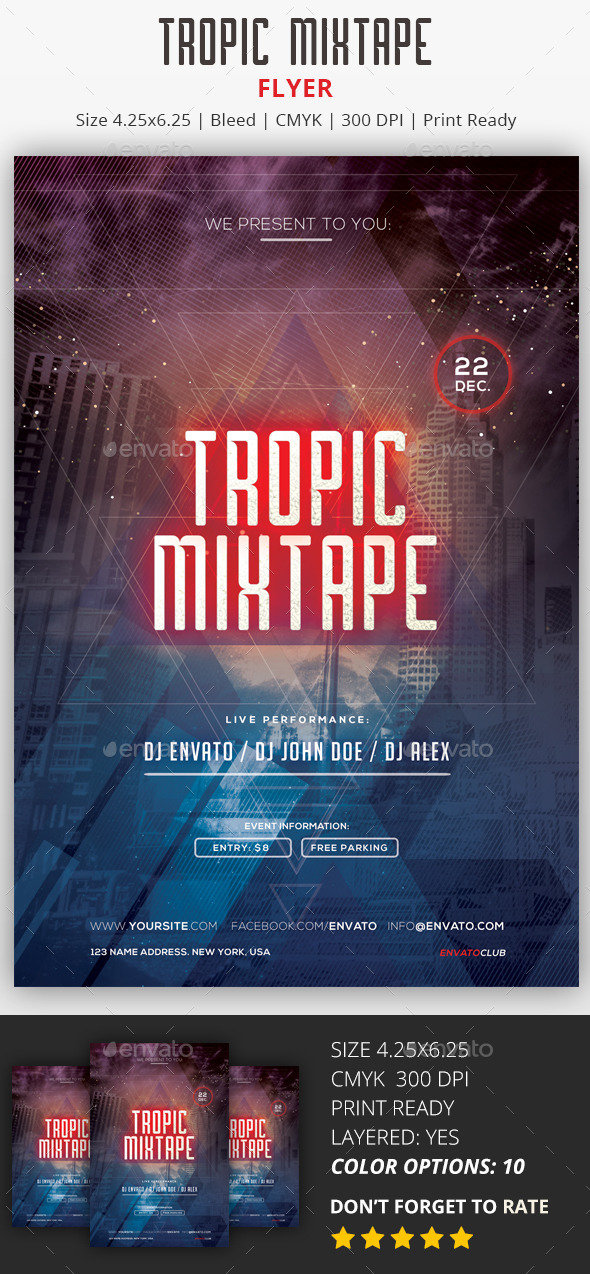 Tropic Mixtape - PSD Flyer - Flyers Print Templates