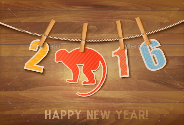 2016 with a Monkey on Wooden Background - New Year Seasons/Holidays