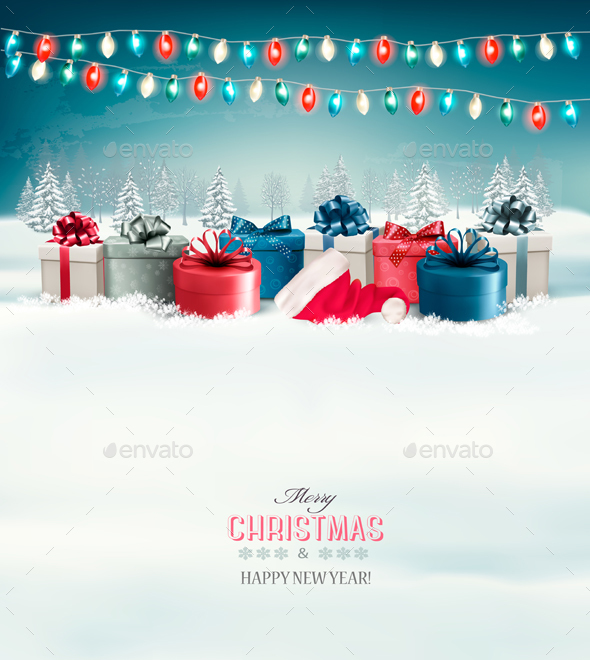 Holiday Christmas Background with Presents - New Year Seasons/Holidays